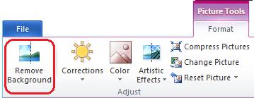 Tombol Hapus Latar Belakang di tab Format Alat Gambar atau pada pita di Office 2010