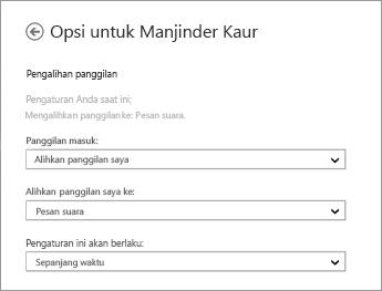 Cuplikan layar opsi pengalihan panggilan masuk dengan opsi untuk mengalihkannya ke pesan suara dan menerapkan setiap saat