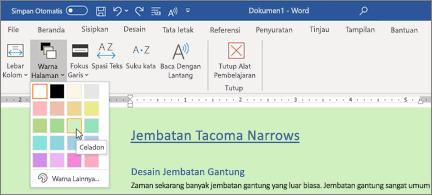 Dokumen Word dengan latar belakang hijau dan pemilih warna halaman terbuka