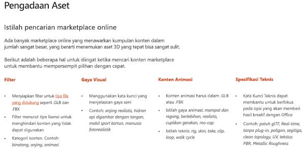 Cuplikan layar dari bagian aset sumber dari panduan konten 3D