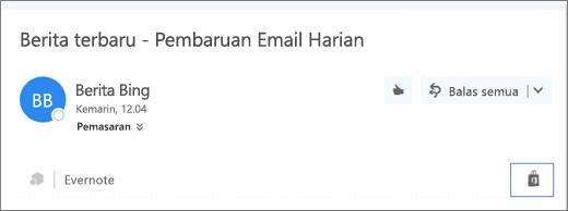 Cuplikan layar kutipan dari bagian atas pesan email dengan ikon Bursa yang disorot. Mengklik ikon akan membuka jendela Add-in untuk Outlook, tempat Anda dapat menelusuri dan menginstal add-in.