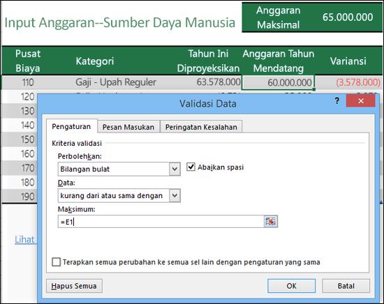 Pengaturan validasi untuk menghitung berdasarkan konten sel yang lain