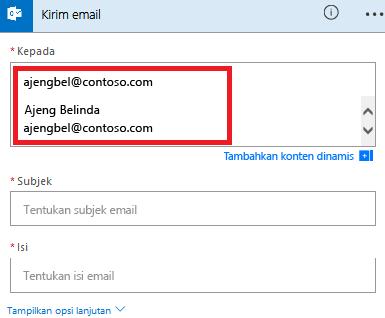 Cuplikan layar: Pilih email Anda dari daftar