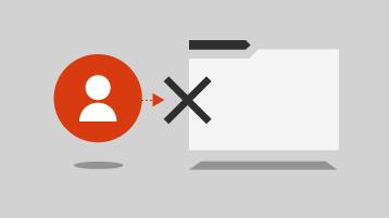 Ikon orang dengan sebuah tanda X di samping file folder