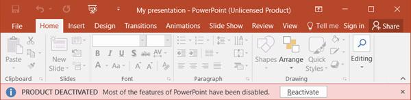 Memperlihatkan pesan kesalahan tertentu tentang mengapa Office tidak memiliki lisensi