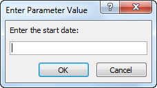 "Perintah parameter dengan teks ""Enter the start date:"""