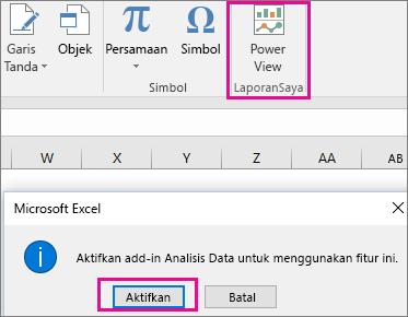Tombol Pivot View Kustom dan dialog mengaktifkan add-in di Excel