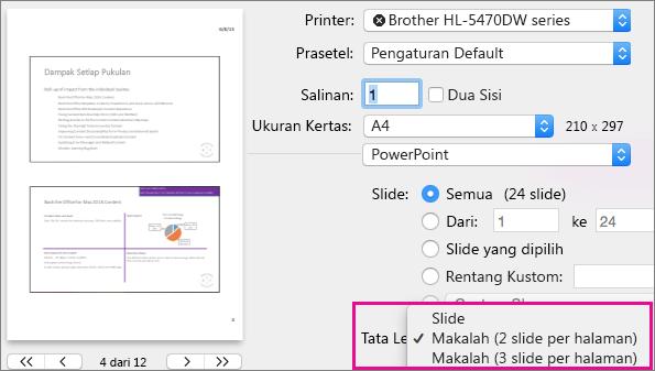 Pratinjau Makalah untuk Cetak PowerPoint untuk Mac
