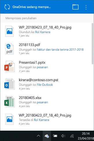 Layar pemrosesan perubahan OneDrive