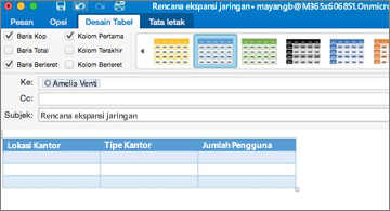 Pesan berisi tabel dan tab Desain Tabel di pita dapat dilihat