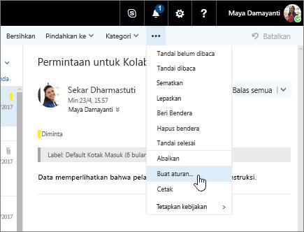 Cuplikan layar pesan email dengan Perintah Lainnya > Buat Aturan... dipilih.