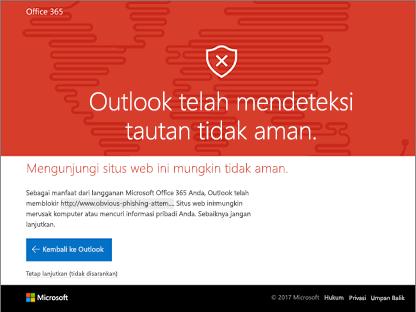 Outlook mendeteksi usafe link.