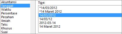 Dialog Format sel, perintah Tanggal, tipe 14/3/12 1:30 PM