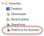 Pencatatan favorit untuk OneDrive for Business di bawah SP2016