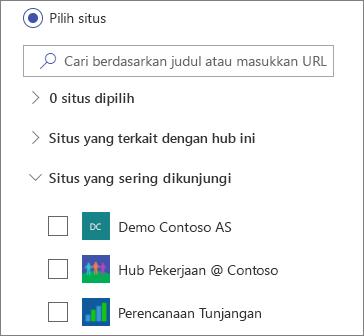 Pilih situs di komponen web Berita