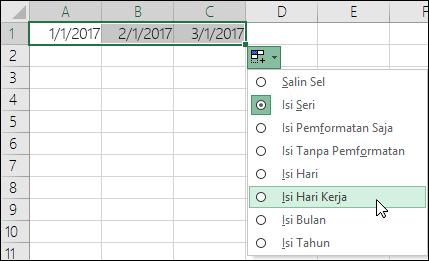 Menggunakan gagang isian untuk membuat daftar tanggal berurutan