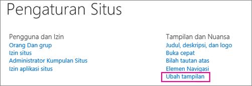 Ubah opsi tampilan, di bawah Pengaturan Situs.