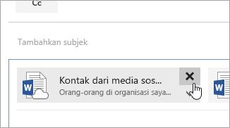 Cuplikan layar tombol Hapus lampiran.