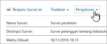 Tombol Pengaturan survei di bagian atas tampilan survei keseluruhan