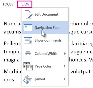 Gambar menu Tampilan di Mode Baca, dengan opsi Panel Navigasi dipilih.