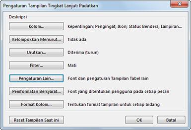 Kotak dialog Pengaturan Tampilan Tingkat Lanjut