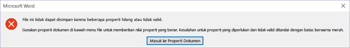 Kotak dialog mengindikasikan bahwa file tidak dapat disimpan.
