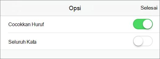 Memperlihatkan pencarian opsi di PowerPoint untuk iPhone.
