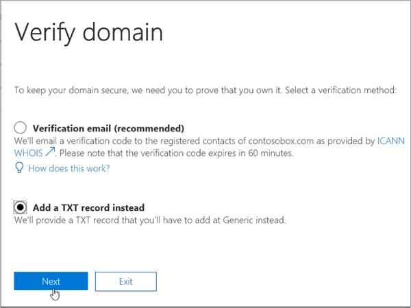 Pilih Domainnameshop Tambahkan TXT sebagai gantinya di Office 365_C3_2017627999
