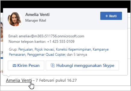 Hovercard, memperlihatkan informasi kontak dan grup