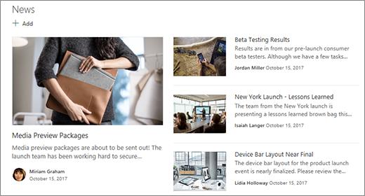 Situs tim bagian baru di halaman Beranda