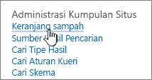 Pengaturan di bawah judul admin kumpulan situs dengan keranjang disorot