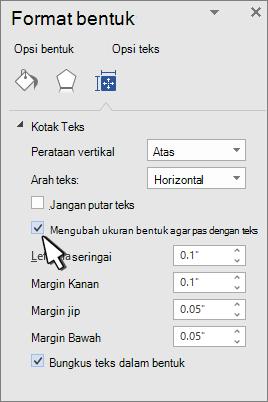 Format bentuk dengan bentuk Resize untuk teks dipilih