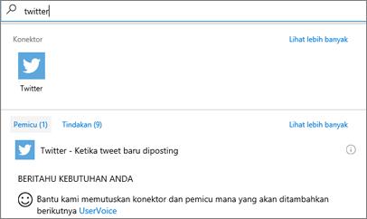 Cuplikan layar: Pilih Twitter