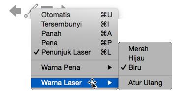 Anda bisa memilih warna merah, hijau, atau biru untuk warna penunjuk laser