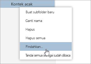 Cuplikan layar menu konteks Folder dengan Pindahkan dipilih