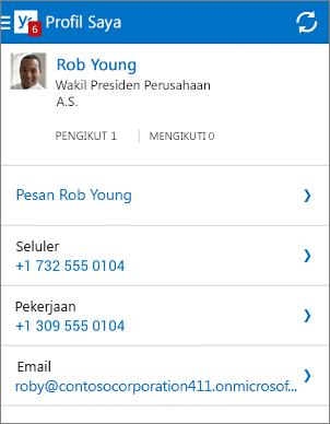 Halaman profil di aplikasi Yammer