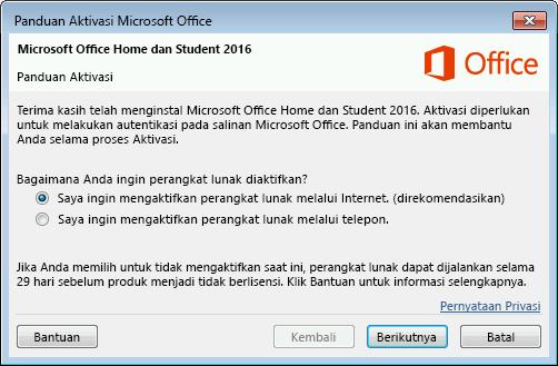 Memperlihatkan Panduan Pengaktifan Microsoft Office