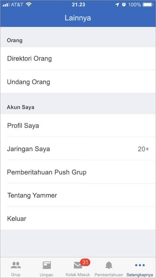 iOS Yammer halaman yang berisi daftar opsi lainnya