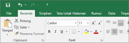 Memperlihatkan pita tema berwarna di Excel 2016