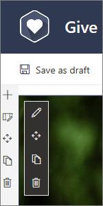 Alat pengeditan untuk komponen web saat mengedit halaman modern di SharePoint
