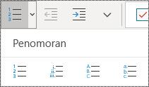 Tombol daftar bernomor di pita menu Beranda di OneNote untuk Windows 10.