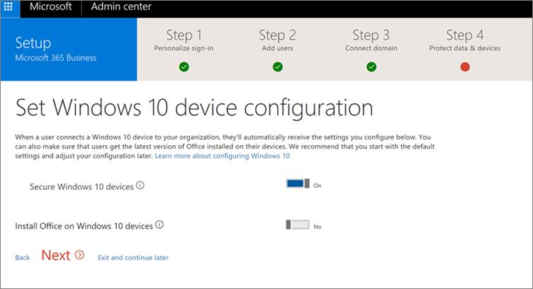 Cuplikan layar halaman Siapkan perangkat Windows 10