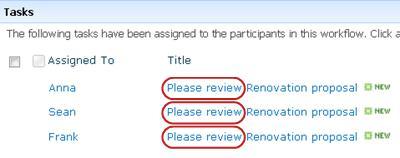 Silakan Tinjau teks dalam nama tugas pada halaman Status