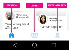 Menu utama Delve untuk Android