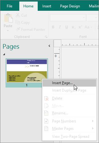 Sisipkan Halaman di panel navigasi Halaman di Publisher.