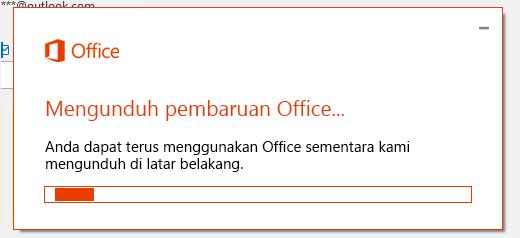 Dialog mengunduh pembaruan Office