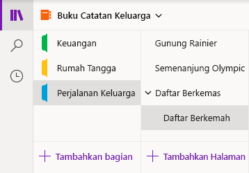 Antarmuka navigasi di OneNote untuk Windows 10