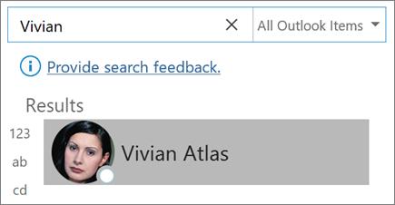 Menggunakan pencarian di Outlook untuk menemukan kontak