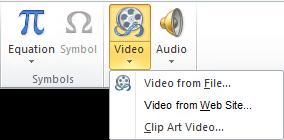 Tombol pada pita untuk menyisipkan video online di PowerPoint 2010