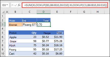 Menggunakan XLOOKUP dengan SUM untuk total rentang nilai yang berada di antara dua pilihan